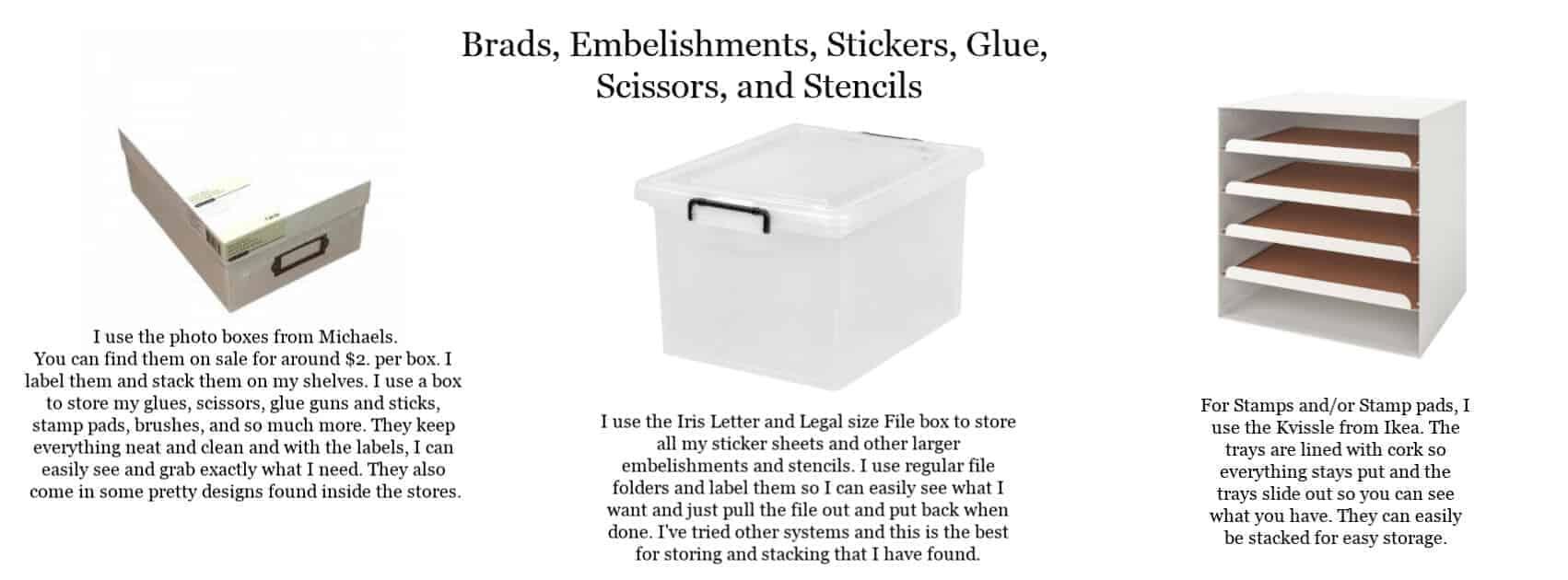 Brads, Embelishments, Stickers, Glue, Scissors, Stamp Pads, Stamps and Stencils Organization