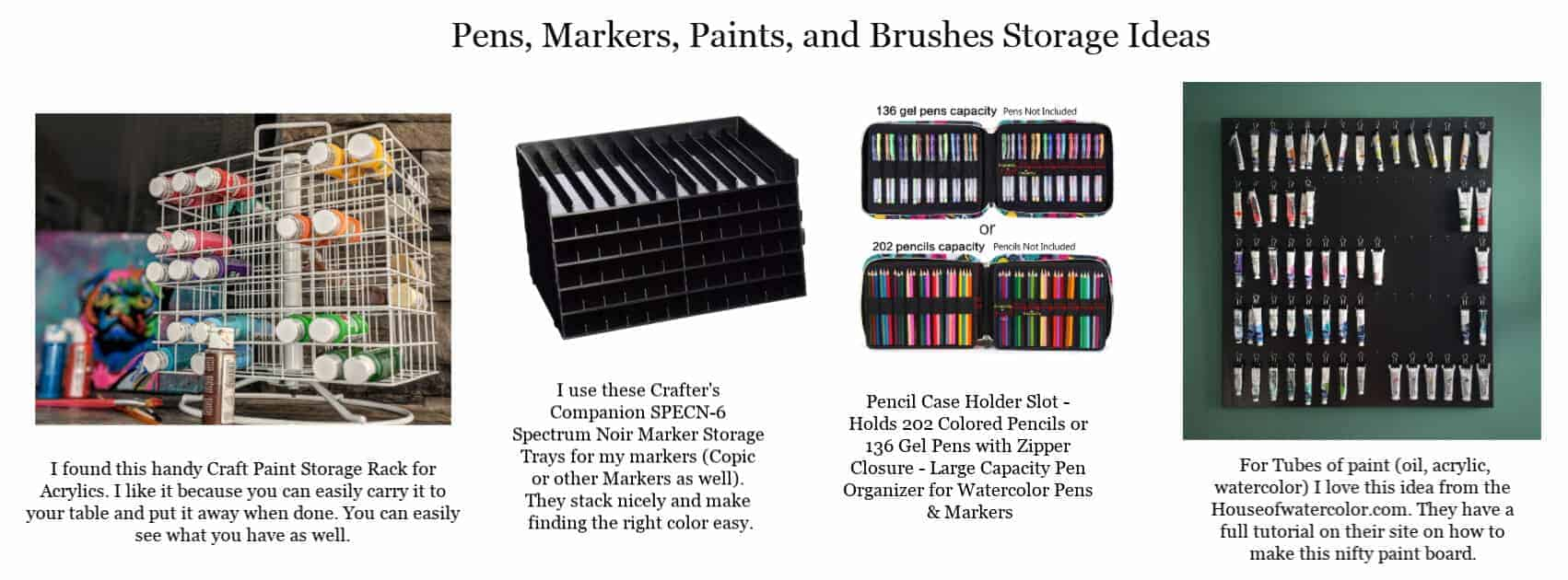 Pens, Markers, Paints, Paper and Brushes Organization