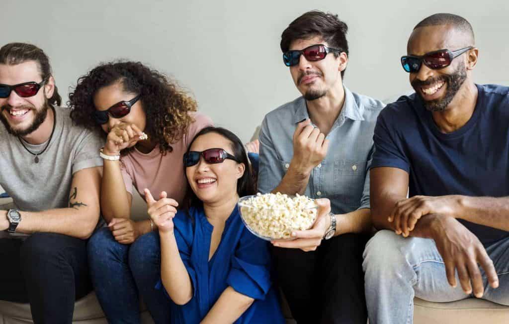 Friends Watching 3D Movie