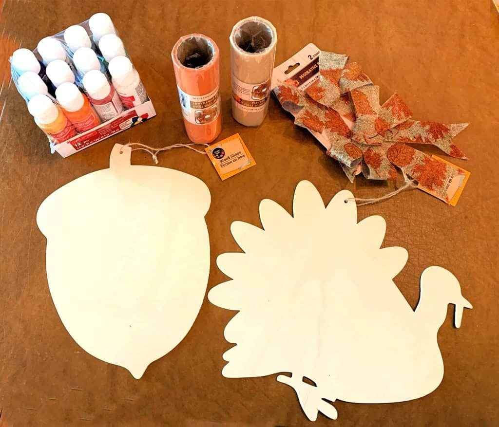 Turkey and Acorn Sign DIY Supplies