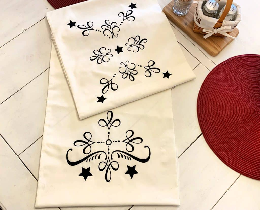 table runner made with Cricut